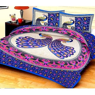 Home Berry Jaipuri Rajwada Double Cotton Bedsheet With 2 Pillow Covers