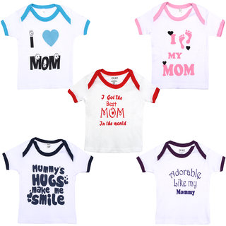 Gkidz Infants pack of 5 Mom theme Cotton Printed White T-shirts Combo