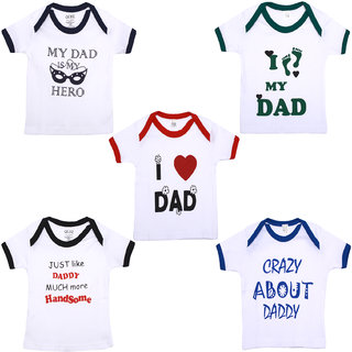 Gkidz Infants pack of 5 Dad theme Cotton Printed White T-shirts Combo