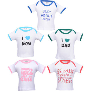 Gkidz Pack Of 5 Mom and dad theme printed White T-shirts