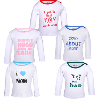 Gkidz Pack Of 5 Mom and dad theme printed White Long Sleeve T-shirts