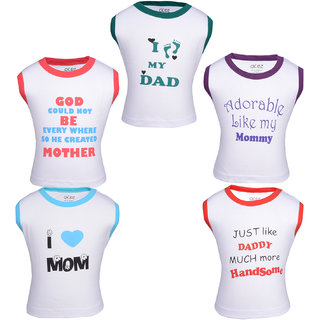 Gkidz Pack Of 5 Mom and dad theme printed Vest T-shirts