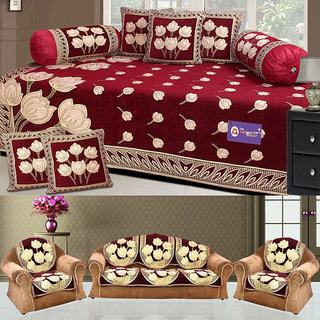 The Intellect Bazaar 450 TC Chenille Sofa Cover and Diwan Set Combo, Red