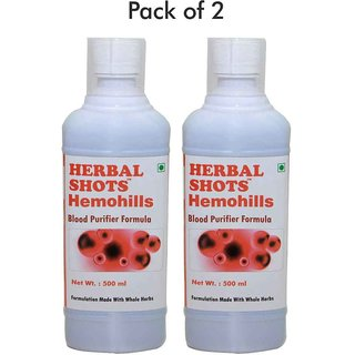 Herbalhills Pure 500ml Hemohills syrup for blood purification skin care and enhanced immunity in pack of 2