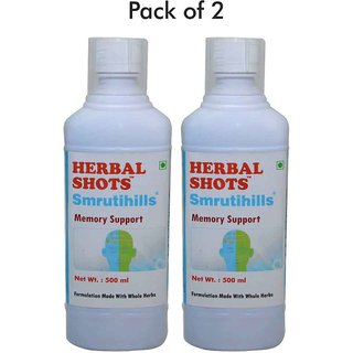 Herbalhills Pure 500ml Smrutihills Syurp for enhanced concentration memory and improved brain health - 500ml combo pack