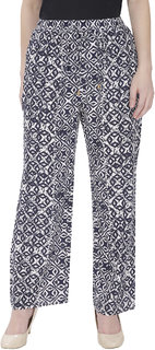 Mansi Collections Blue Printed Trouser For Women