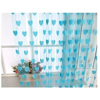 The 3rd Angle Mart Set of 2 Blue Heart Door Curtains