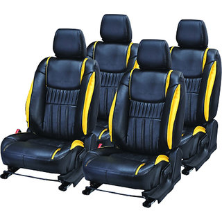 Musicar Honda Jazz Black Leatherite Car Seat Cover with 1 Year Warranty And Steering cover  Free