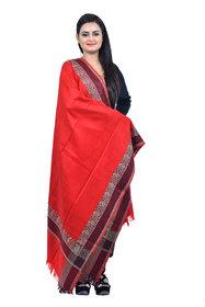 Ethnic Apparel - Women's Red Cashmilon Self Designer Kashmiri Shawl