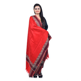 Ethnic Apparel - Women's Red Cashmilon Self Designer Kashmiri Shawl