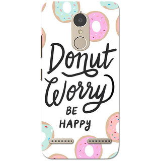 Lenovo K6 Power Case, Donut Worry Be Happy White Slim Fit Hard Case Cover/Back Cover