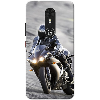 Gionee A1 Case, Bike Racer Grey Black Slim Fit Hard Case Cover/Back Cover