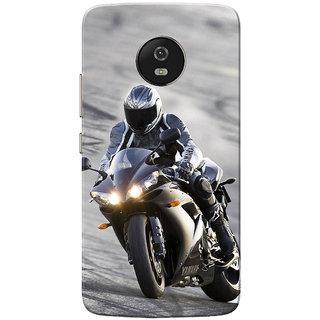 Moto G5 Case, Bike Racer Grey Black Slim Fit Hard Case Cover/Back Cover