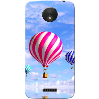 Moto C Plus Case, Air Balloon Sky Blue Slim Fit Hard Case Cover/Back Cover
