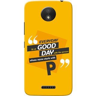 Moto C Plus Case, Name Starts With P Yellow Orange Slim Fit Hard Case Cover/Back Cover