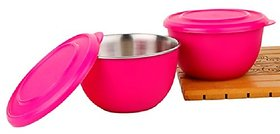 Shubh Shop 2pcs pink micro safe bowl