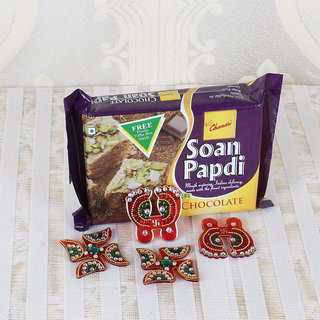 Chocolate Soan Papdi with Diwali Accessories