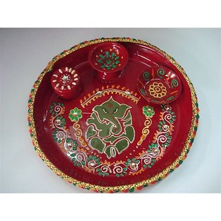 Decorative Puja thali / Pooja Plate red Color