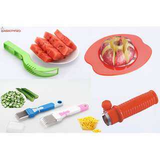 DarkPyro Combo Of Red Apple Cutter+Sweet Corn Cutter+Watermelon Scooper and Slicer+1 Pcs.Multi Blade Veg.Cutter