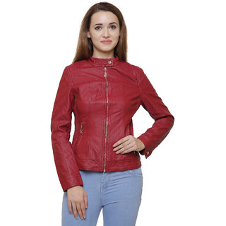 MansiCollections Maroon Leather Jacket For Women