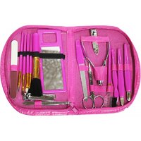 Compact Manicure Pedicure Brush Set / Grooming Kit With Stylish Purse (Set of 18pcs)