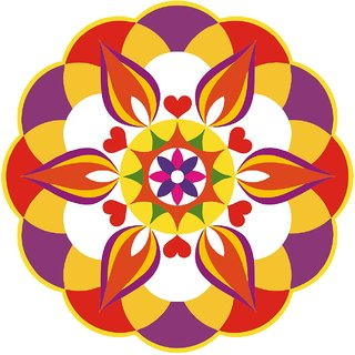 Decor Villa Decor Villa 78 Rangoli Floor Sticker (Size- 60 x 60 cm, Pack Of 1)