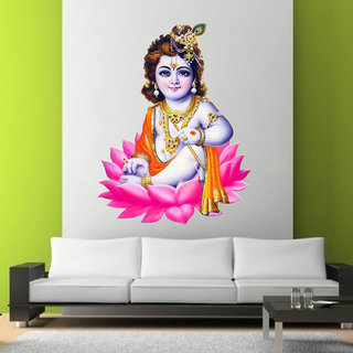 Decor Villa Wall Sticker (Lord ganesha face,Wall Covering Area -58 x 45 CM)