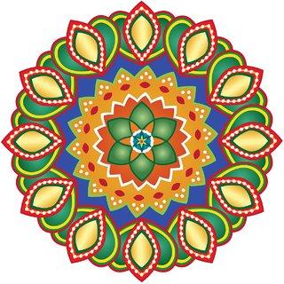 Decor Villa Decor Villa 97 Rangoli Floor Sticker (Size- 60 x 60 cm, Pack Of 1)