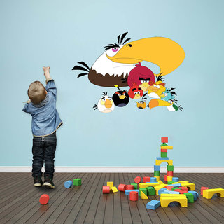 Decor Villa Wall Sticker (Angry bird and team,Wall Covering Area -58 x 43 CM)