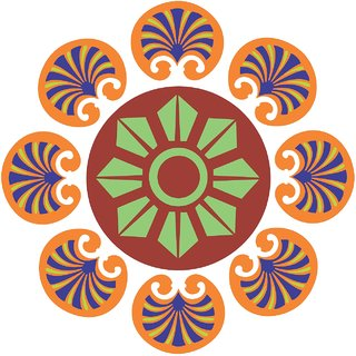 Decor Villa Decor Villa 91 Rangoli Floor Sticker (Size- 60 x 60 cm, Pack Of 1)