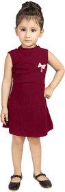 Addyvero Girls Midi/Knee Length Party Dress (Maroon, Sleeveless)