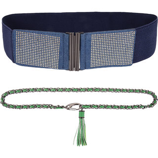 Addyvero Women Party Blue, Green Artificial Leather Belt