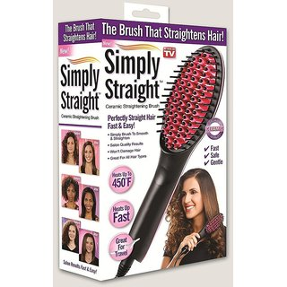 SIMPLY STRAIGHT HQT-906 Digital Display With Temperature Ceramic Hair Straightener Brush (Assorted Color) s4d