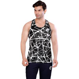 Omtex Sublimated Criss Cross Gym Vests For Men - Black
