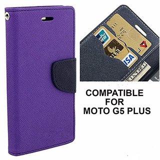 BRAND FUSON Mercury Goospery Fancy Wallet Dairy Flip Case Cover For Motorola MOTO-G5 Plus (Purple)