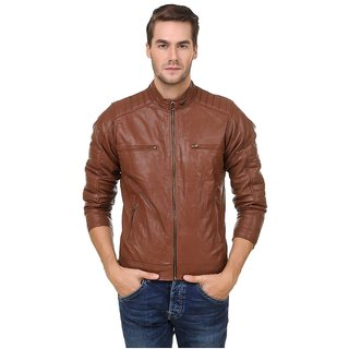 29afac69bed1 Buy Brown Pu Leather Plain Winter Casual wear Biker Jacket For Men ...
