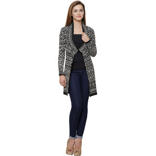 MansiCollections Black Wool Cardigans For Women