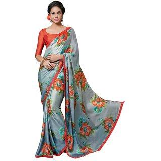 Triveni Lovely Grey Printed Satin Chiffon Saree