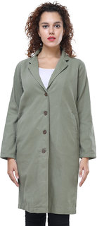MansiCollections Green Corduroy Peacoats For Women