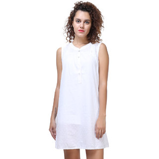 MansiCollections White Cotton Plus Maternity wear For Women