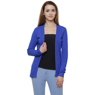MansiCollections Blue Viscose Cardigans For Women
