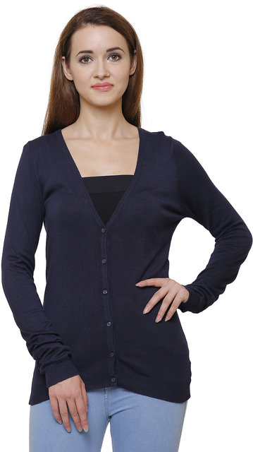 MansiCollections Black Cotton Cardigans For Women
