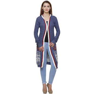 MansiCollections Blue Wool Cardigans For Women