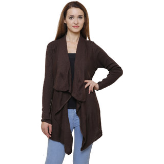MansiCollections Brown Wool Cardigans For Women