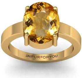 Jaipurforyou Certified  Citrine (Sunehla)  3.00 cts or 3.25 ratti Panchdhatu ring