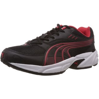 Puma Men's Pluto Black Red Lace Up Running Shoe
