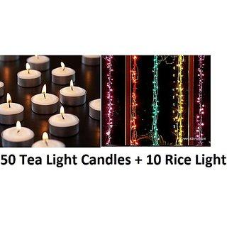 10 Rice Lights Strings and 50 Tea Lights Candles , Decorative Diwali Festival Lights