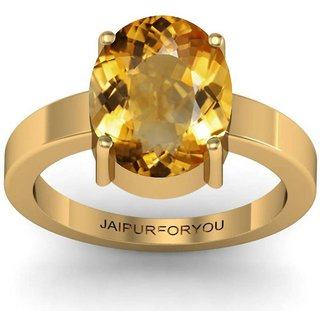 Jaipurforyou Certified  Citrine (Sunehla)  3.00 cts or 3.25 ratti Panchdhatu ring