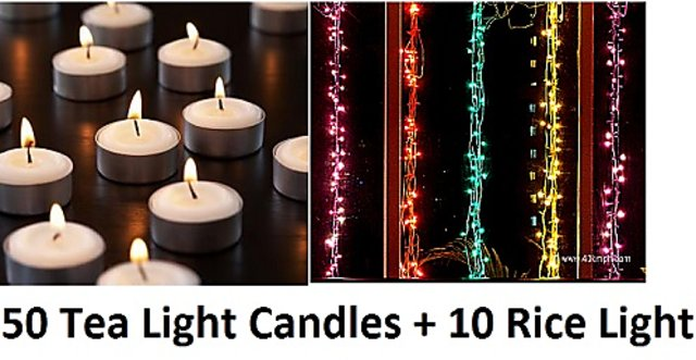 10 Rice Lights Strings And 50 Tea Candles Decorative Diwali Festival