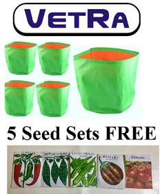 VETRA Branded HDPE grow bags for terrace gardening and Home Gardening (12''x12'') PACK OF  5 Bags FREE SEEDS PACK